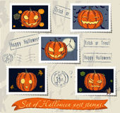 Vintage halloween post stamps set. Royalty Free Stock Photography