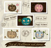 Vintage halloween post stamps set. Royalty Free Stock Images