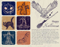 Vintage Halloween poster. Vintage Halloween poster with pumpkin, owl, bat etc. Vector illustration EPS8 Stock Photography