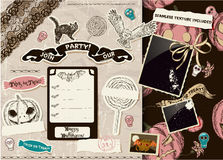 Vintage Halloween scrapbooking set. Royalty Free Stock Photo