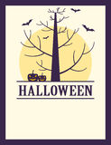 Vintage Halloween spooky tree, pumpkins and bats poster Royalty Free Stock Image