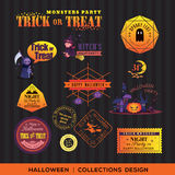 Vintage Halloween symbols labels and frames Royalty Free Stock Photography