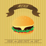 Vintage Hamburger, Fastfood Menu Royalty Free Stock Images