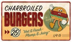 Vintage hamburger Tin Sign Advertisement Retro. Metal old antique rustic 25 cent diner doggy tasty fresh cartoon vector illustration