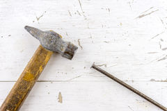 Vintage hammer and steel nail concept with space for text or log Royalty Free Stock Image