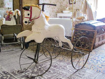 Vintage Hand Carved Horse Tricycle Royalty Free Stock Images