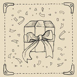 Vintage hand-drawing background with gift box. Vector illustration. Stock Images