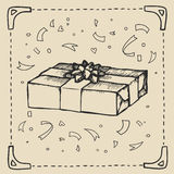 Vintage hand-drawing background with gift box. Vector illustration. Royalty Free Stock Photos
