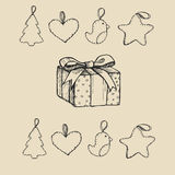 Vintage hand-drawing background with gift box. Vector illustration. Stock Photo