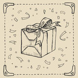 Vintage hand-drawing background with gift box. Vector illustration. Stock Image