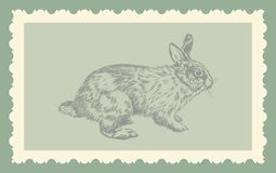 Vintage hand drawing rabbit  Royalty Free Stock Photos