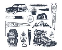 Vintage hand drawn adventure symbols, hiking, camping shapes of backpack, pennant, kayak, surf car, lantern. Retro Stock Photos