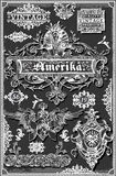Vintage Hand Drawn American Banners and Labels on Blackboard Royalty Free Stock Images
