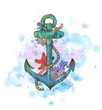 Vintage hand drawn anchor. Abstract vector background with vintage hand drawn anchor and blue watercolor blots stock illustration