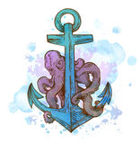 Vintage hand drawn anchor and octopus. Vintage hand drawn vector anchor and octopus on a blue watercolor background Stock Image