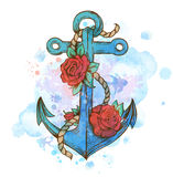 Vintage hand drawn anchor and red roses Stock Photo