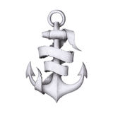 Vintage hand drawn anchor with a ribbon Royalty Free Stock Photography