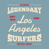 Vintage Hand drawn apparel fashion print Legendary surfers for t-shirt. Royalty Free Stock Photography