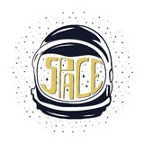 Vintage hand drawn astronaut helmet to space travel with custom texts - space and stars. Stock emblem isolated on white. Background. Good for T-Shirts, mugs stock illustration