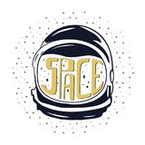Vintage hand drawn astronaut helmet to space travel with custom texts - space and stars. Stock vector emblem isolated on. White background. Good for T-Shirts royalty free illustration