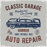 Vintage hand drawn auto repair t shirt design. Classic car poster with typography. Auto industry tee. Retro style poster. With grunge background. Old car logo stock illustration