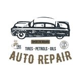 Vintage hand drawn auto repair t shirt design. Classic car poster with typography. Auto industry tee. Retro style poster. With grunge background. Old car logo vector illustration
