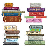 Vintage hand drawn books library vector set Stock Image