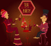 Vintage hand drawn cafe poster tea party cartoon couple lady and gentlemen Stock Image