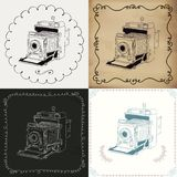 Vintage Hand-Drawn Camera Variations Stock Images