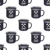 Vintage hand drawn camp mug, pattern design. Camping seamless wallpaper with cup, typography sign. Monochrome retro Stock Image