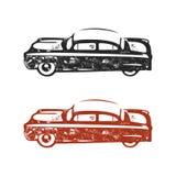 Vintage hand drawn car. Retro car symbol design. Classic car emblem isolated on white background. Stock elements. American auto icon. USA automotive theme royalty free illustration