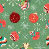 Vintage hand drawn christmas balls and snoflakes seamless pattern vector stock illustration