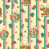 Vintage christmas owl baking charater seamless pattern vector royalty free illustration