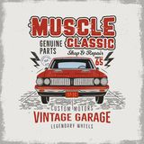 Vintage hand drawn classic muscle car t shirt design. Classic automobile poster with words - vintage garage, legendary. Wheels. Retro automotive tee goes in Royalty Free Stock Photos