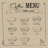 Vintage hand drawn coffee menu on retro background Royalty Free Stock Image