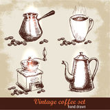 Vintage hand drawn coffee set with coffee beans. Sketch style. Royalty Free Stock Image