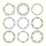 Vintage Hand Drawn Decorative Frames Made Of Floral Elements Stock Photos