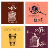 Vintage Hand Drawn Design Elements For Coffee Shop, Market, Cafe . Printable Typography for Card, Poster, Banner, T-shirt. Stock Image