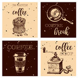 Vintage Hand Drawn Design Elements For Coffee Shop, Market, Cafe . Printable Typography for Card, Poster, Banner, T-shirt. Royalty Free Stock Image