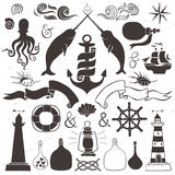 Vintage hand drawn elements in nautical style. Stock Images