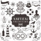 Vintage hand drawn elements in nautical style. Vol.1 Royalty Free Stock Photography