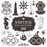 Vintage hand drawn elements in nautical style. Vol.2 Royalty Free Stock Photo