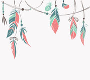 Vintage hand drawn feathers and beads. On white background. Vector illustration stock illustration