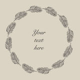 Vintage hand drawn feathers frame Royalty Free Stock Images
