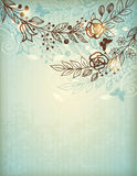 Vintage hand drawn floral background Stock Photo