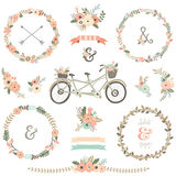 Vintage Hand Drawn Floral Bicycles Stock Images