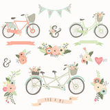 Vintage Hand Drawn Floral Bike Royalty Free Stock Photos