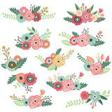Vintage Hand Drawn Floral Bouquet Set Royalty Free Stock Photo