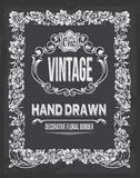 Vintage hand drawn floral chalkboard decorative border Royalty Free Stock Image