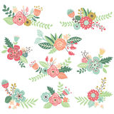 Vintage Hand Drawn Floral Set vector illustration